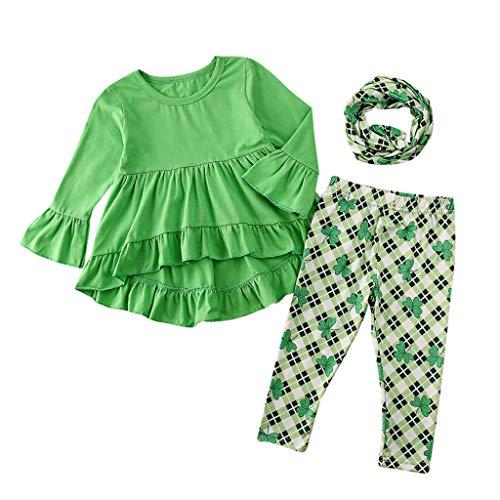 Kobay Kleinkind Kinder Baby Mädchen St. Patrick's Day Tops Plaid Hosen Schal 3 STÜCKE Outfits Set Mädchen Langarm Wellenrock Top + Hosen + Schal Set (0-5Y)