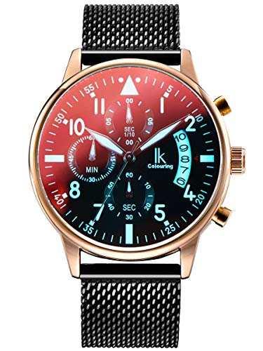 Alienwork Armbanduhr Herren Damen Rose-Gold Metall Mesh Armband Edelstahl schwarz Kalender Datum