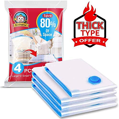 FoReal Design FBA_ Vacuum Storage 4 Pack (3 Large, 1 Small) 80% More Space Saver Bags for Clothes, Blankets, Pillows, 20 Hand Pumps, Orange