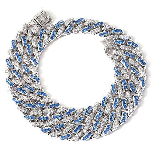 Fantex Collar y pulsera con cierre de caja para hombre y mujer de 18 K, color azul 5 A CZ Diamonds Miami Cuban Link