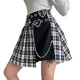 Señoras Falsas de Dos Piezas de Cintura Alta con Falda Corta de Cadena Falda Media de Costura a Cuadros de Estilo gótico para niñas Adolescentes