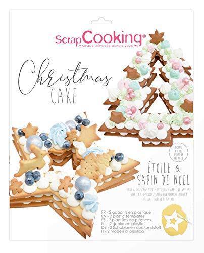 ScrapCooking - Kit Gabarits Christmas Cake Sapin & Étoile - Accessoires Pâtisserie pour Dessert Gâteau de Noël Number Cake Design - Avec Recettes - 3912