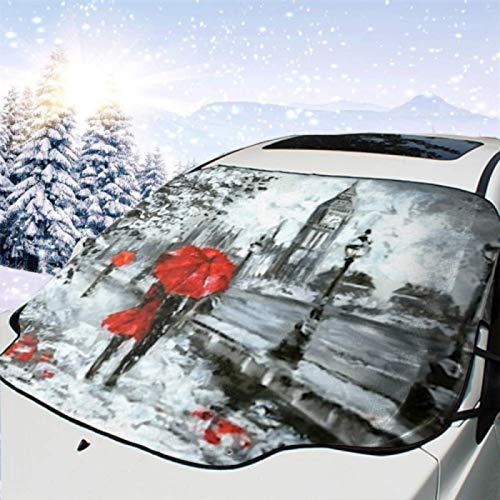JONINOT Visera de sombrilla automática para Parabrisas Delantero Impermeable Pintura al óleo Street View London Obra de Arte Protector protección contra heladas Invierno vehículos