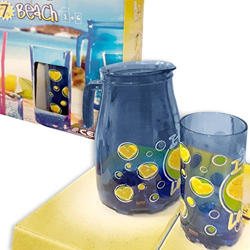 Set 1 karaf + 6 bekers blauw transparant CERVE cadeau-idee Limonade Coocktail Bite zomer
