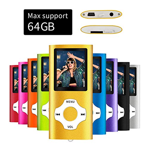 Mymahdi MP3/MP4 tragbarer Player, 1,8 Zoll LCD-Bildschirm und Kartenschlitz, max. Unterstützung 128 GB TF-Karte, Gold