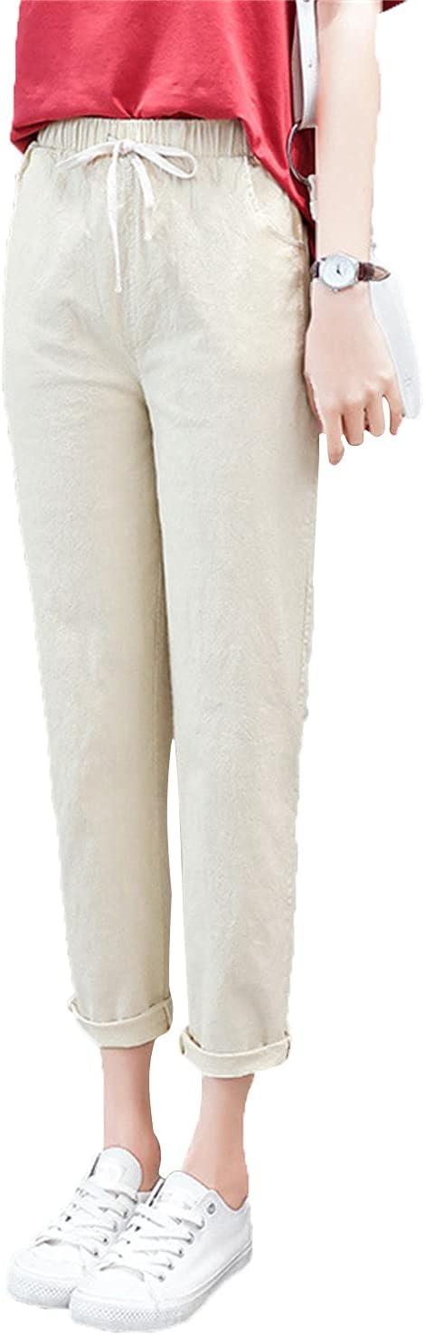 Women's Drawstring Skinny Slim Fit Cotton Linen Pants Casual Soft Jogger Trousers Straight Comfy Elastic Waistband Pant (Khaki,XX-Large)