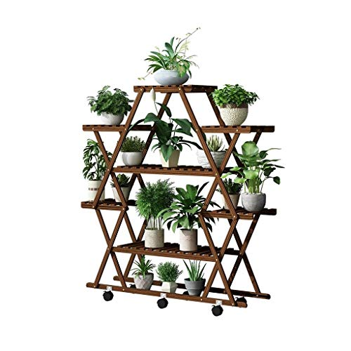 Bloemenrekken Bloemenstandaard Houten 6-Tier Vloerstaande Plant/Crafts Display Stand Met Wiel Ladder Plank Opslagrek voor Outdoor Indoor