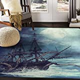ALAZA Night Scene with Pirate Ship Octopus Area Rug for Living Room Bedroom 5'3'x4'