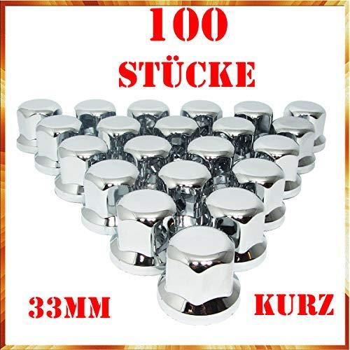 Tapacubos Easy Link de 100 x 33 mm para tuercas de rueda, cromo y plástico, SW33, para remolques de camiones