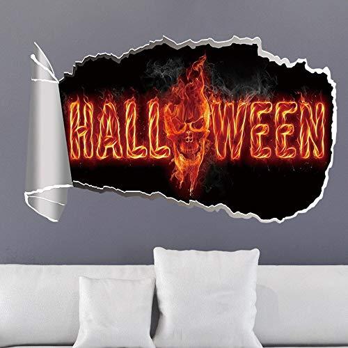 Halloween Horror 3D Calcomanía rota Calabaza Linterna Scary Zombie Green Ghost DIY PVC Art Etiqueta de la pared Mall Tienda Ventana Dormitorio Sala de estar Decoración para el hogar Mural