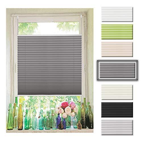 Plissee ohne Bohren Anthrazit 115x130cm (Breite x Höhe) Jalousie Sonnenschutz Easyfix Faltrollo Lichtdurchlässig Rollo für Fenster Tür