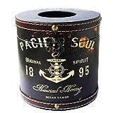 Rustic Vintage Tissue Holder Box Decorative Shabby Chic Facial Tissue Holder Napkin Paper Case Holder Hotel Home Decor (Black Pacific Soul(Circular))