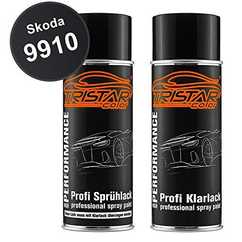TRISTARcolor Autolack Spraydosen Set für Skoda 9910 Black Magic Perl Basislack Klarlack Sprühdose 400ml