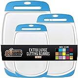 Gorilla Grip Original Oversized Cutting Board, 3 Piece, BPA Free, Dishwasher Safe, Juice Grooves,...