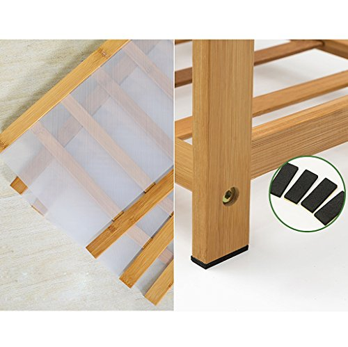 ZHEN GUO SHELF Narrow Bamboo Shoe rack organizer with handles, boot shelf stand over the door/entryway, bathroom storage cabinet (Size : 5 tier)