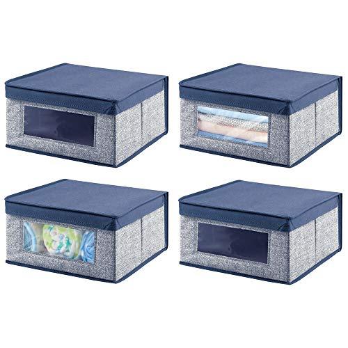 mDesign Juego de 4 cajas organizadoras de tela – Caja de almacenaje apilable para ordenar armarios, zapatos o ropa – Organizador de...