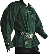 come foto XXL Uomo adulto Rinascimento medievale Sposi Rievocazione pirata Costume larp Allacciatura camicia Camicia maniche medioevo Top per uomo
