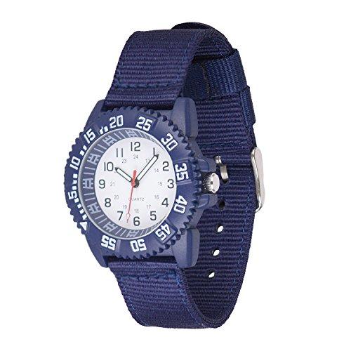 Wolfteeth 40mm Caja de Metal Chico Adolescente Reloj analógico de Cuarzo Militar Reloj de Pulsera ejército Resistente al Agua Bisel Esfera Blanca Azul Banda de Nylon 20mm (301701)