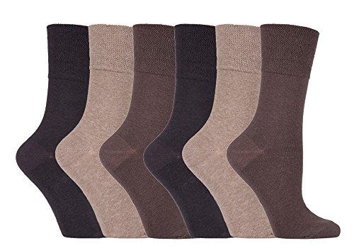 Gentle Grip - 6 pares calcetines diabeticos mujer sin goma elastico estampados 37-42 eur (SOLRD39 Brown)