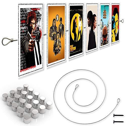 LeTOMA - Fotoseil 150 cm mit 15 extrem starken Neodym Magneten - Extra Starkes Magnetseil garantiert perfekten Halt für Fotos und Postkarten - Bilderseil, Fotodraht, Fotomagnetseil - 1,5m