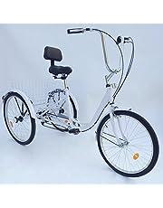 "OUKANING 3 Wheel Fiets 24"" 6 Speed Volwassen Trike driewieler Fiets Fietsen Pedaal met Winkelmandje"