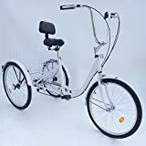 Senderpick - Bicicleta de pedales de 6 velocidades para adultos y adultos con cesta blanca para deportes al aire libre y compras ajustable, Hombre, blanco