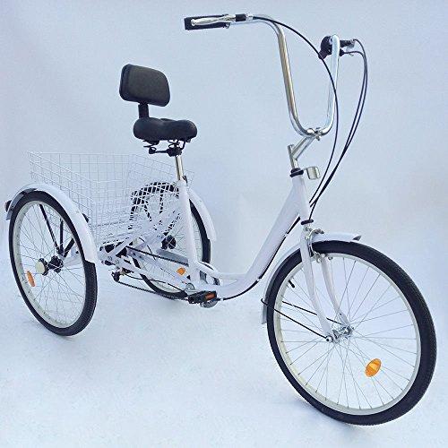 OU BEST CHOOSE 24'' 3 Wheel Adult Tricycle, Basket Seat Trike Bicycle...