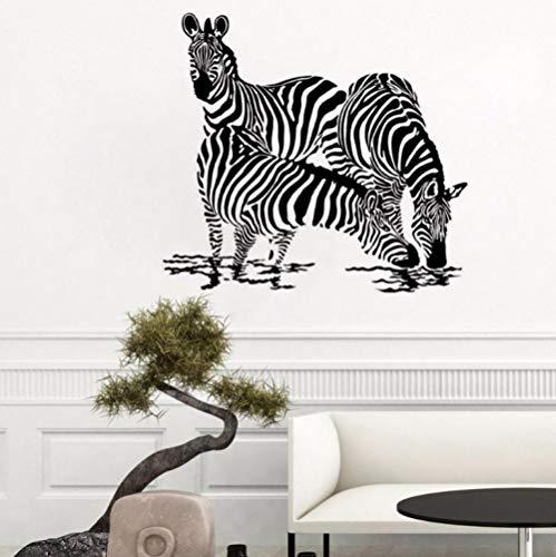 Muursticker 46 x 42 cm Dieren drie Zebre vormen van drinkwater jungle wandlamp voor wilde dieren van PVC decoratie modern waterdicht kunst A
