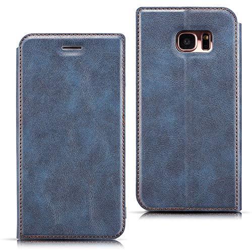 EATCYE Custodia Galaxy S7 Edge,Cover per Galaxy S7 Edge,Folio Flip Stile PU Pelle Portafoglio Ultra Sottile con Magnetic Closure Paraurti per Samsung Galaxy S7 Edge (Blu)