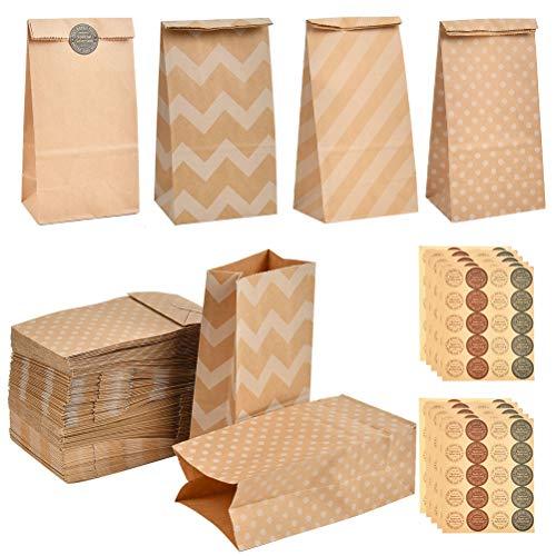 YANSHON 120 Bolsas de Papel Kraft DIY con Pegatinas para Niños 9 x 6 x 18 cm, Bolsa de Regalo de Fondo Plano, Calendario de adviento, Fiestas de Cumpleaños, Regalos, Compras, para Envolver favores