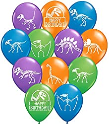 7. Gypsy Jade's 12″ Latex Dinosaur Fossil Party Balloons (32 Pieces)