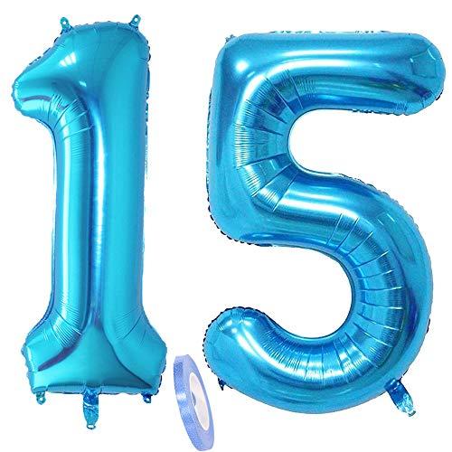 2 Luftballons Zahl 15, Nummer Luftballon Blau Mädchen Junge Jungs,40