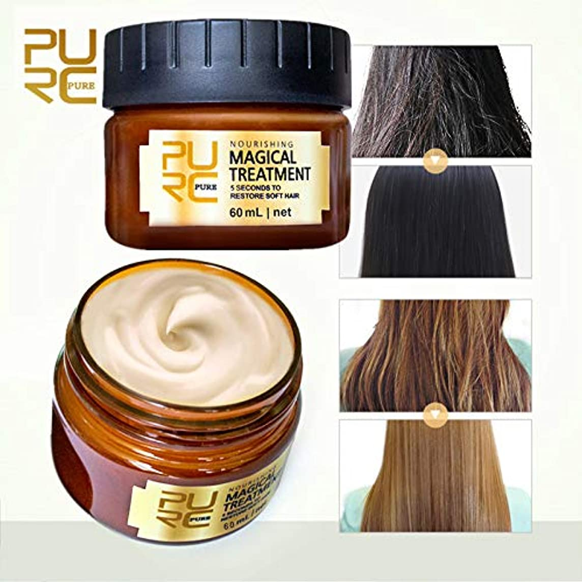 騒々しいつば寄生虫ベストプライス - 3本x 60mlマジカルヘアトリートメントマスク5秒 ダメージを回復しますソフトヘアケラチンヘアケア&スカルプトリートメント (3pcs X 60ml Magical Hair Treatment Mask 5 Seconds Repairs Damage Restore Soft Hair Keratin Hair Care & Scalp Treatment
