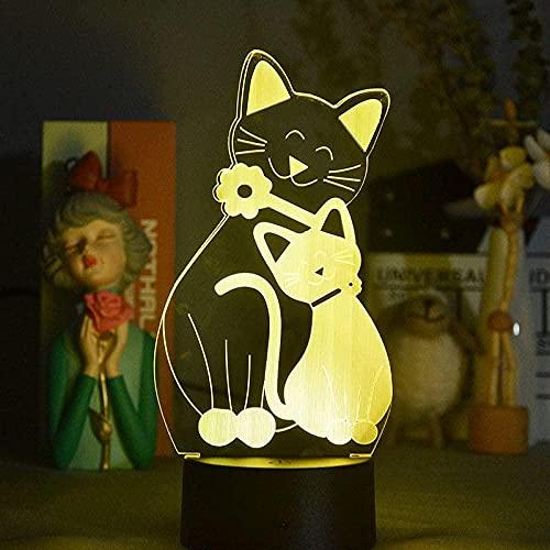 Lámpara de ilusión 3d noche luz LED de dos gatos humor lámpara de mesa regalo de cumpleaños dormitorio escritorio de escritorio de escritorio