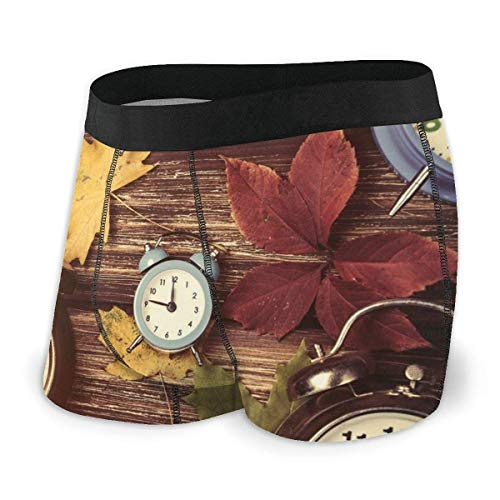Web--ster Calzoncillos Boxer para Hombre, Hojas de Arce secas Varios Relojes de Alarma en tablones de Madera Tamaño de impresión XL