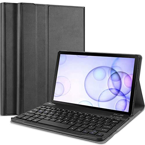 ProCase Tastatur Hülle Case für Galaxy Tab S6 10.5 Zoll (SM-T860 SM-T865/T866 2019)(QWERTY-US Layout), Ultradünn Klappen Schutzhülle mit Magnet Abnehmbarer Kabellos US Tastatur –Schwarz