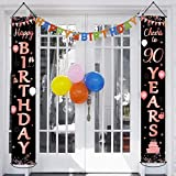Happy 90th Birthday Party Banner Decorations 90 Years Old Birthday Party Supplies Fabric Welcome Porch Sign for Indoor Outdoor (Black & Rose Gold)