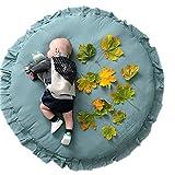 Borlai Alfombra de Juego de Piso de Bebé Alfombra de Volantes Redonda Alfombra de Área de Guardería Suave para Niños Niñas
