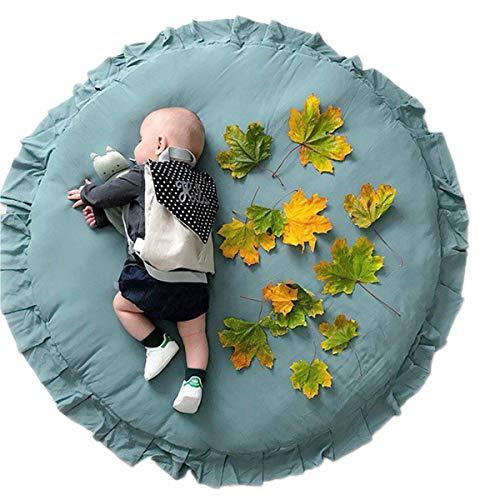 Wallfire Babyspielmatte Rund 41 Zoll Spielunterlage Krabbeldecke Weiche Baumwolle Babyspielmatte Decke Boden Spaß Gym Spielmatte (Grün)