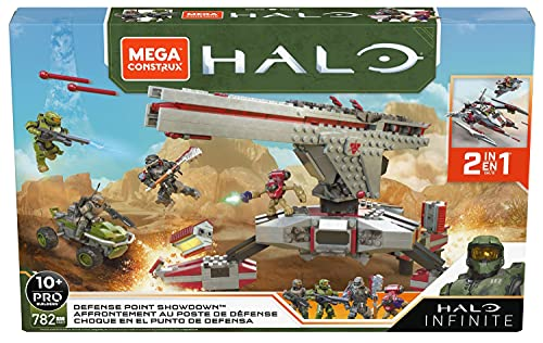 Mega Construx Halo Infinite, Affrontement au Poste de Défense 2-en-1, véhicule à construire, 782 pièces, jeu de briques de construction, 10 ans et plus, GNB27
