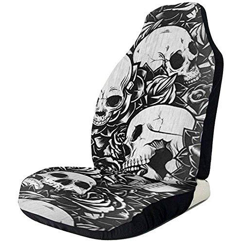 Alice Eva 2 Stück Sitzbezüge Dead Horror Skull von Vordersitzbezüge für Autositzbezüge