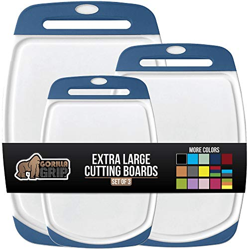 GORILLA GRIP Original Oversized Cutting Board, 3 Piece, BPA Free, Dishwasher Safe, Juice Grooves, Larger Thicker Boards, Easy Grip Handle, Non Porous, Extra Large, Kitchen, Set of 3, Blue