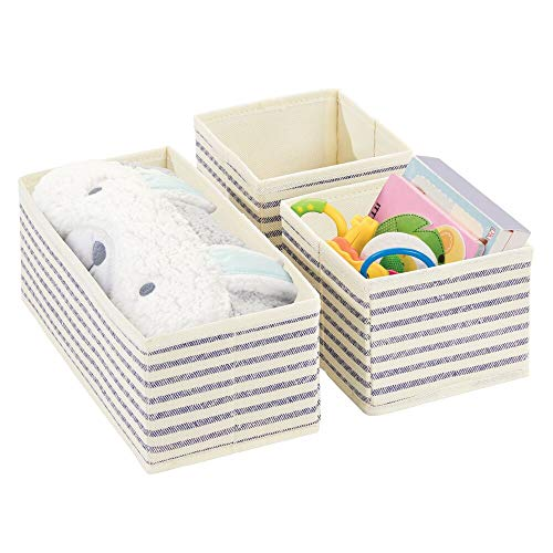 mDesign Fabric Dresser Drawer and Closet Storage Organizers for Child/Kids Room, Nursery, Playroom - Holds Boys, Girls, Baby Clothes, Onesies, Diapers, Wipes - Textured Print, 3 Piece Set - Linen/Blue