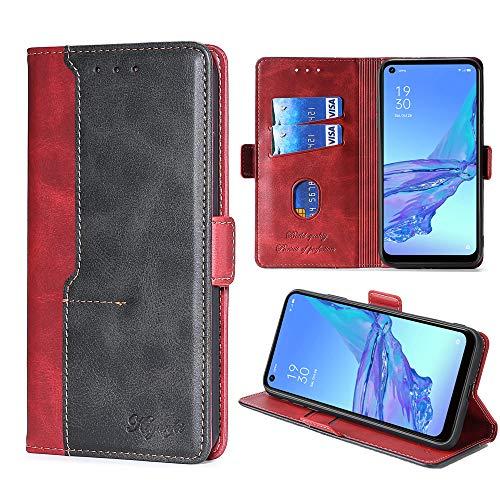 FiiMoo Handyhülle Kompatibel mit Oppo A53 / A53s, [Weicher TPU] [Kartenfach] [Magnetverschluss] [Aufstellfunktion] Premium PU Leder Tasche Flip Wallet Hülle Schutzhülle Hülle für Oppo A53/A53s -Rot