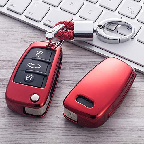 para Audi A1 A3 A4 A5 Q7 A6 C5 C6 A7 A8 R8, Car Styling Soft TPU Auto Key Cover Case Proteger Car Holder Shell Llavero Accesorios
