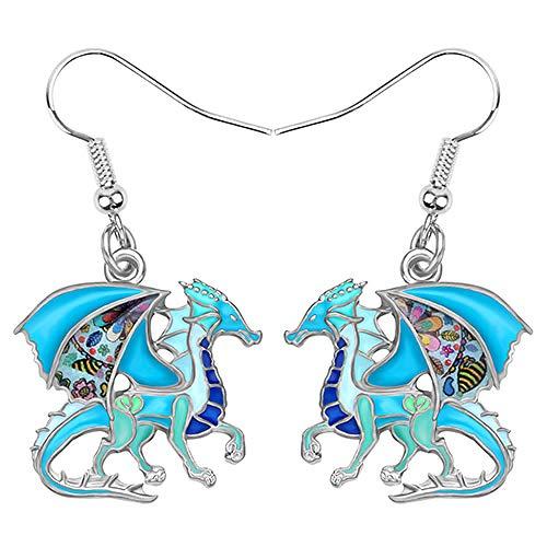 XAOQW Flor de Oro Anime Dragón Dinosaurio Pendientes Colgante Animal Jewelry Chica Encanto Regalo Accesorios-Azul