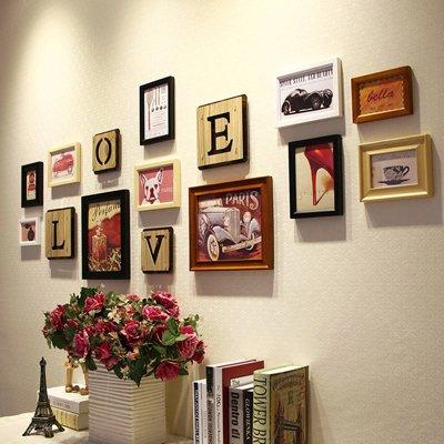 Massivholz Foto wand Mediterrane schreiben Bilderrahmen Wohnwand Wohnzimmer Wände Ideen LiebeLiebe,Die vier - Farbe mischen