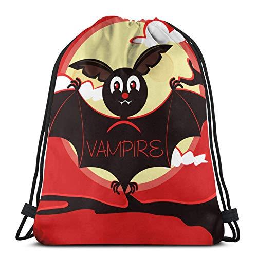 IUBBKI Bat Vampire Sitting On Branch Drawstring Backpack Lightweight Sports Gym Bag Large Size Waterproof String Sackpack for Yoga Travel Shopping Men Women