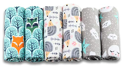 Paños de muletón para bebés, pack de 6, 80 x 80 cm, paño para vómitos, 100% franela de algodón menta, fabricado según Ökotex Standard 100, paño de muletón unisex para niños o niñas