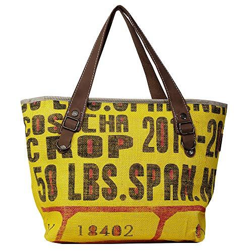 HOGACA coole Damenhandtasche Mod.3.1 18402 Gelb aus Kaffeesack Jutesack Sommer-Strand-Hippie-Ibiza-Tasche